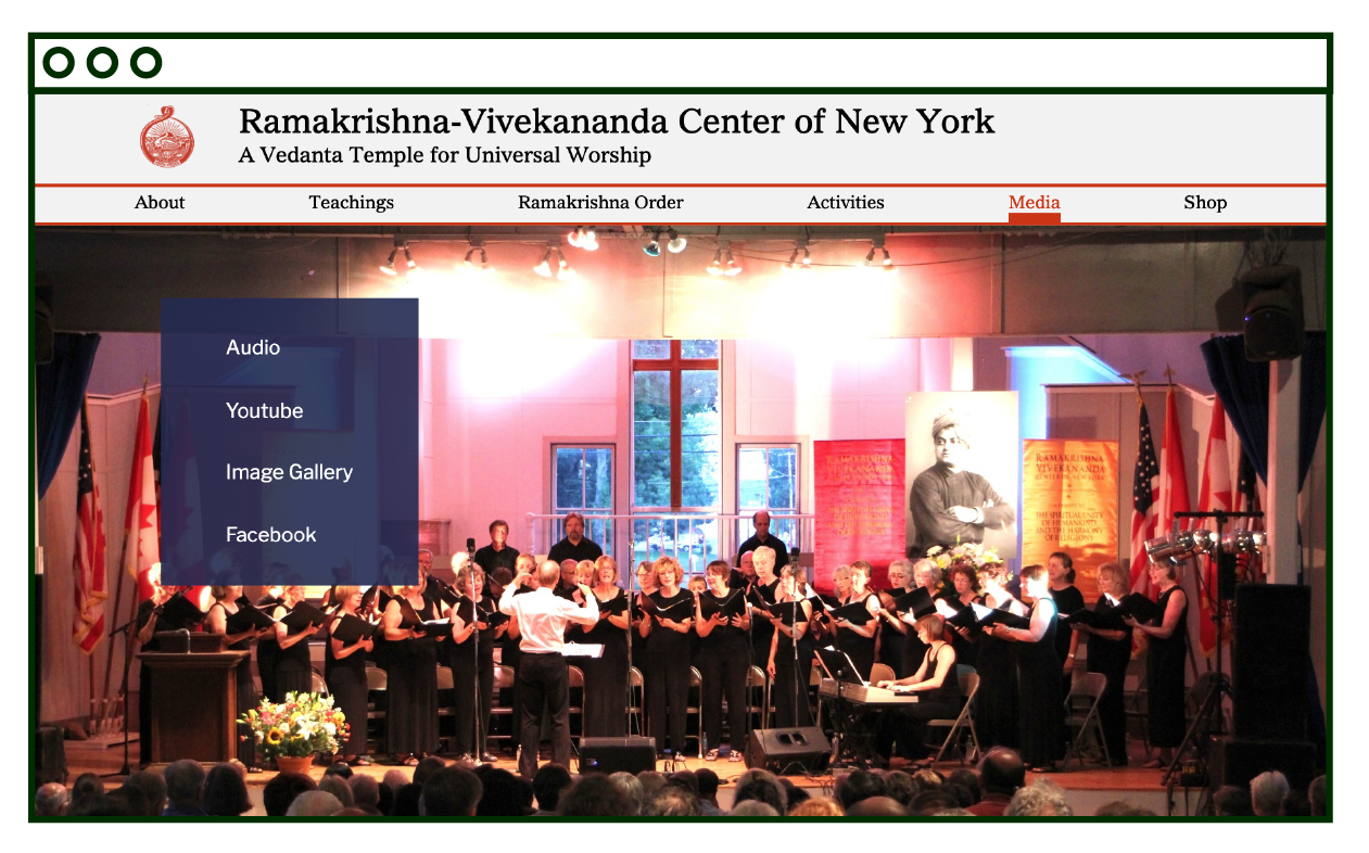 desktop layout of Media page, links to media pages on blue transparent square, on photo of choir event.