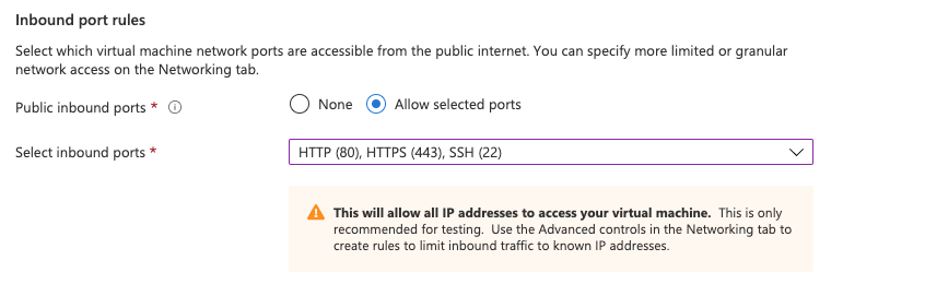 Allowed Ports