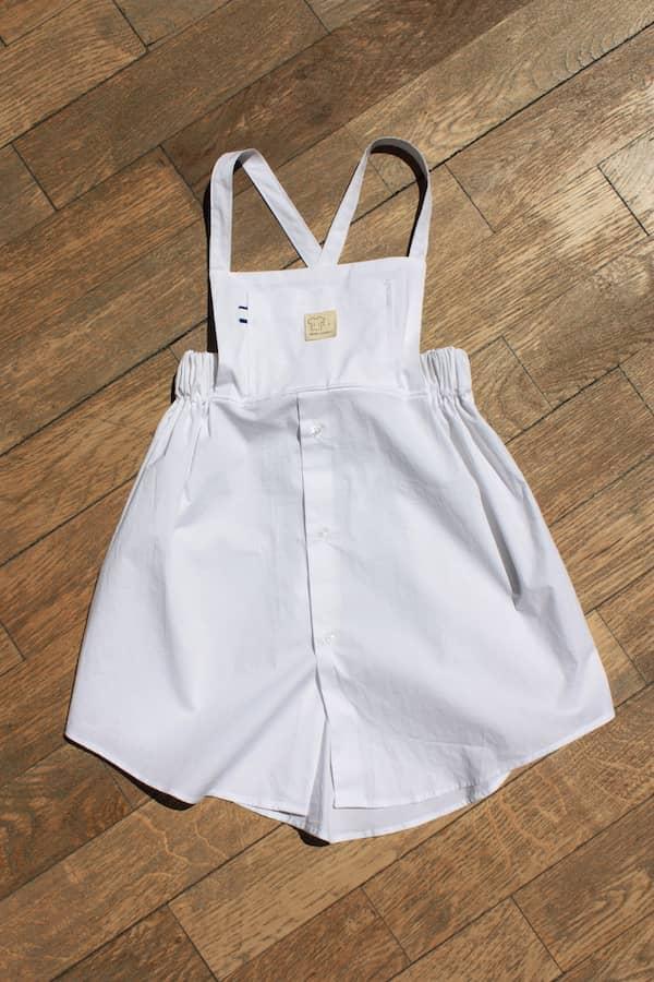 Chemise homme upcyclé en robe pour bébé