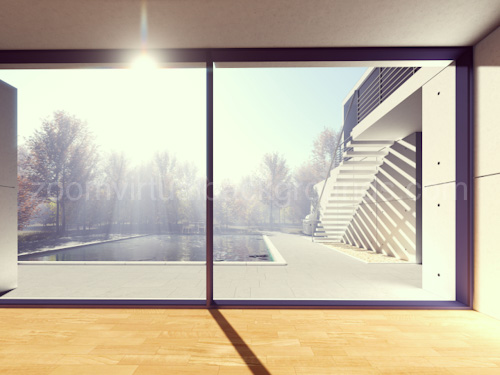 Bright minimalist Home Study Virtual Background for Zoom with large window looking onto outdoor pool