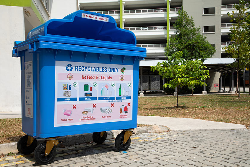 image of new recycling blue bin