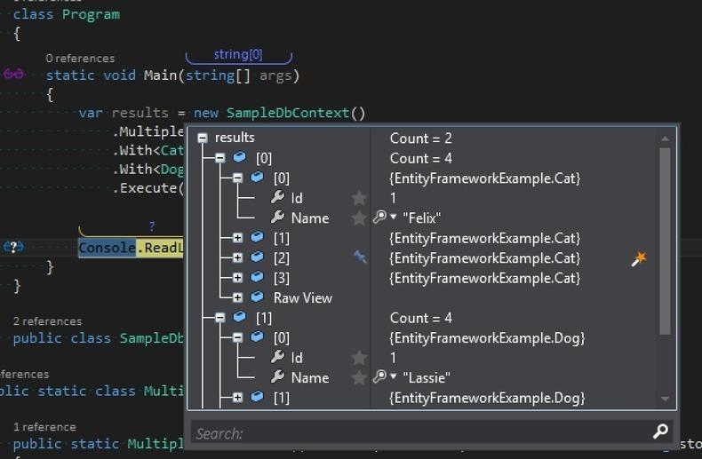 refactored results set in visual studio