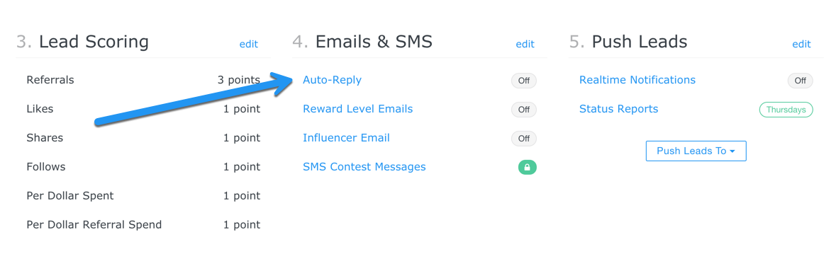 Overview emails section