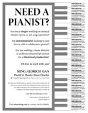 Need a Pianist? (Tear-Off Ad)
