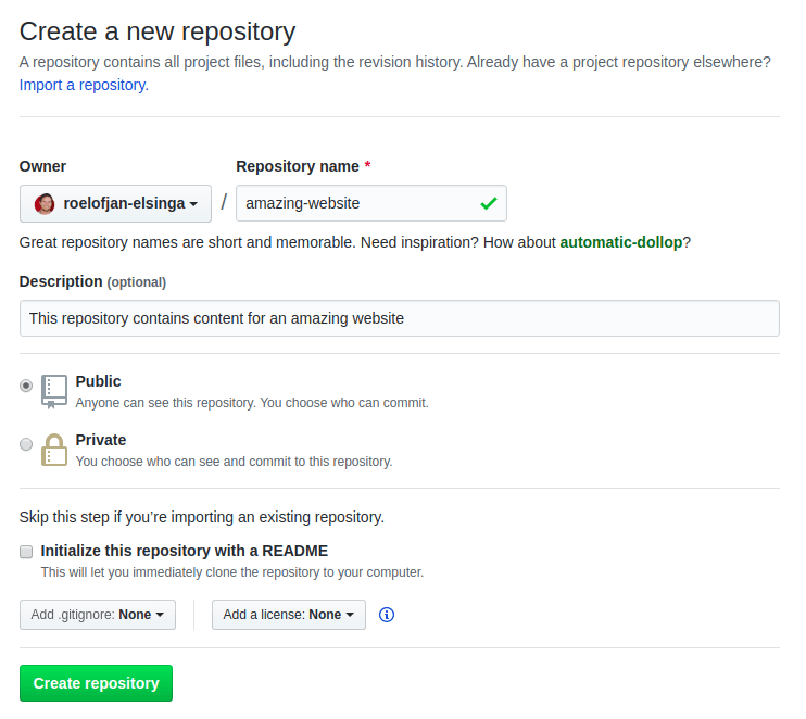 Creating a new GitHub repository