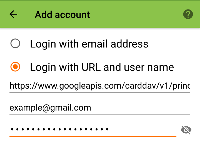 Logging in to DAVDroid with a Google account.