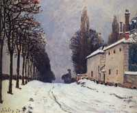 'Snow on the Road Louveciennes', painted by Alfred Sisley in 1874