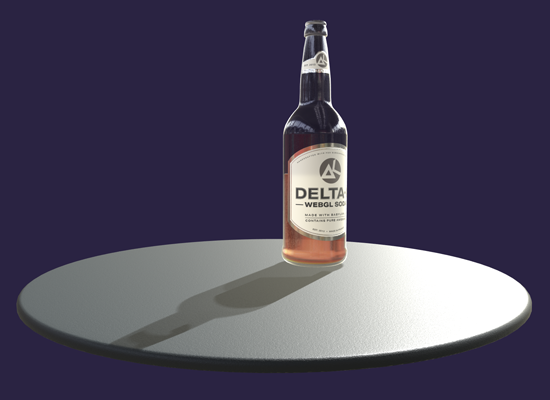 Rendering of a half-empty soda bottle casting a shadow on the table.