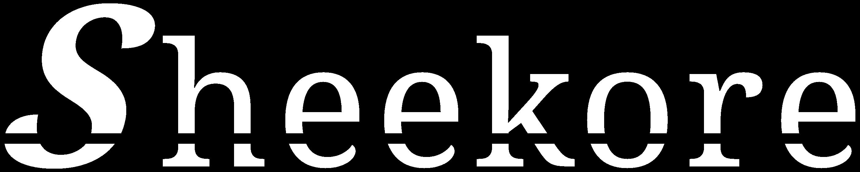 Sheekore monochrome white logo.