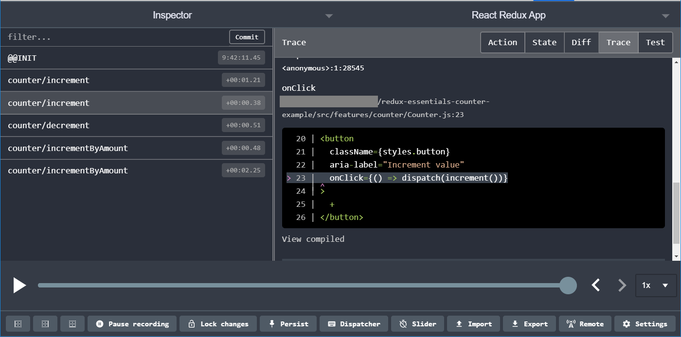 Redux DevTools: action stack traces
