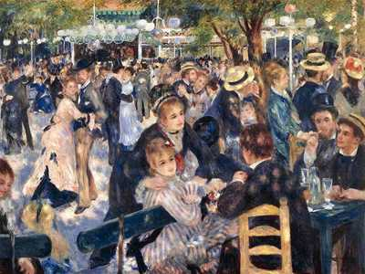 This painting depicts a typical Sunday afternoon at the original Moulin de la Galette in the district of Montmartre in Paris. Painted by Renoir in 1876.