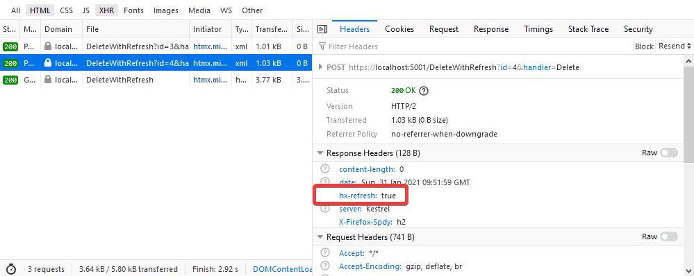 HX-Refresh response header in the last AJAX request