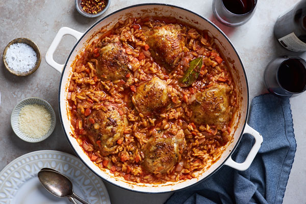 One Pot Baked Greek Chicken Orzo (Giouvetsi/Youvetsi)