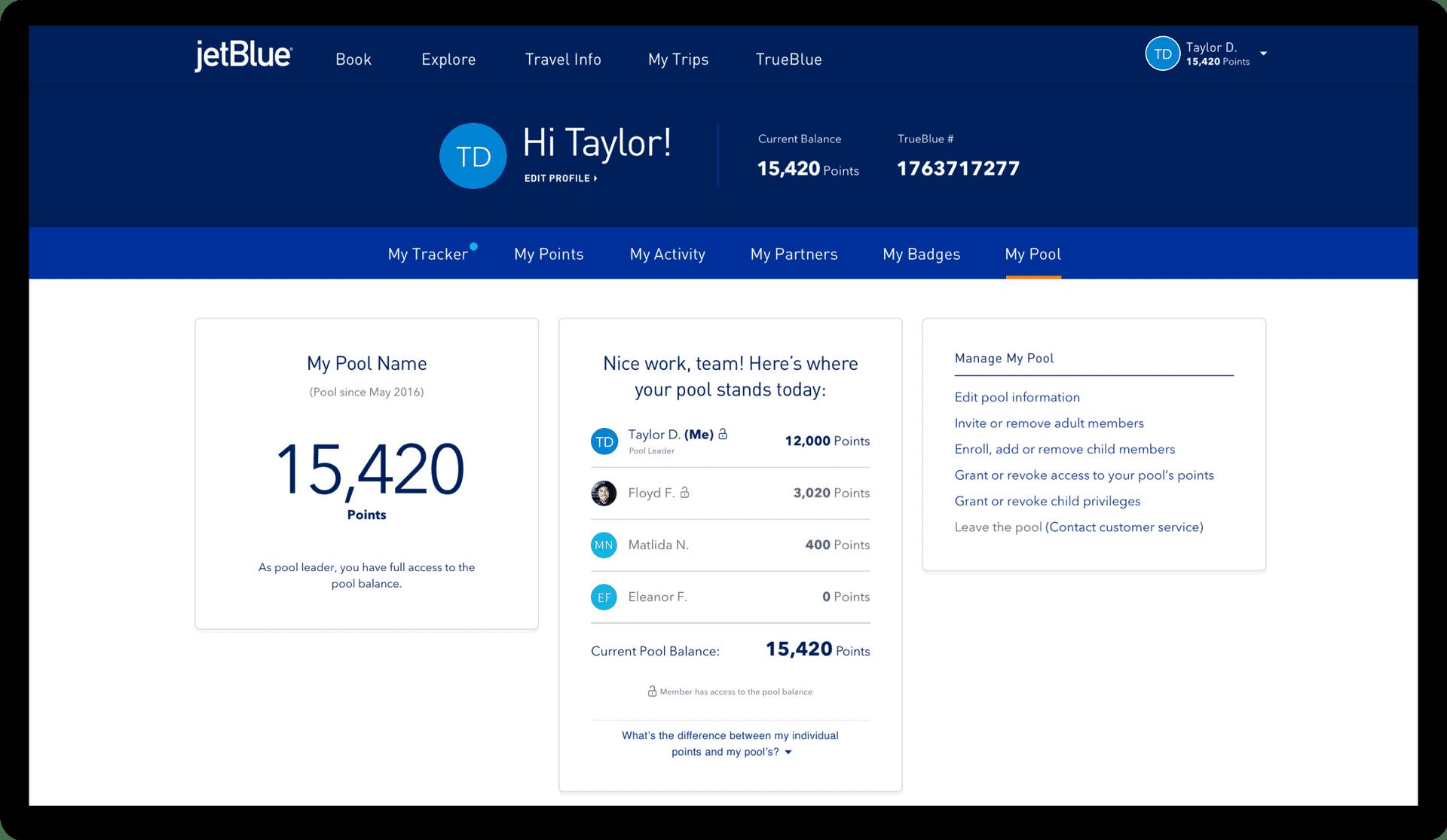 Jetblue desktop profile layout