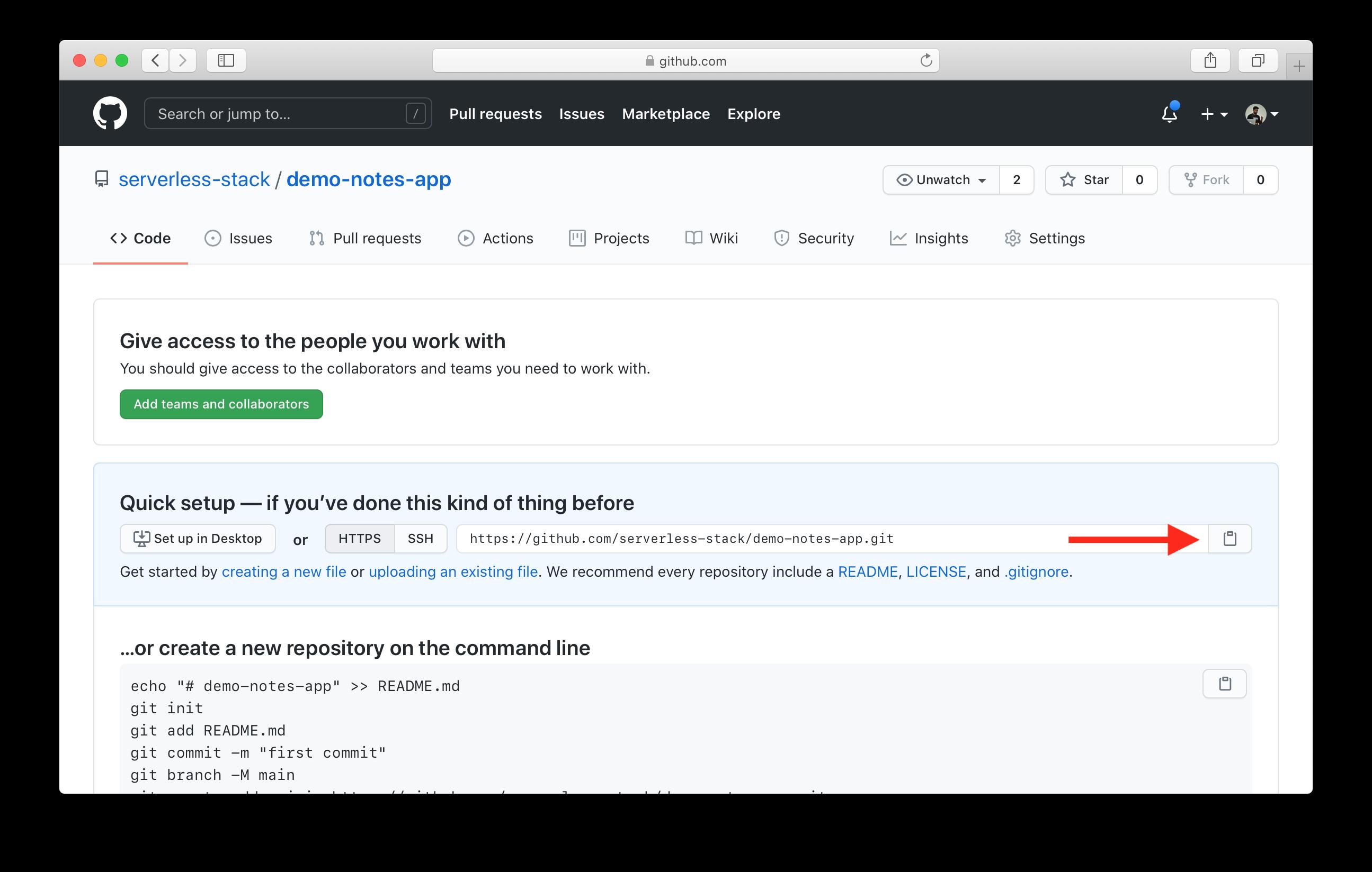 Captura de pantalla - Copiando la url del repositorio GitHub