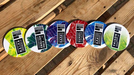 Fisher's beer mats - NEIPA, English Pale, DAPA, Dunkel, APA and Saison