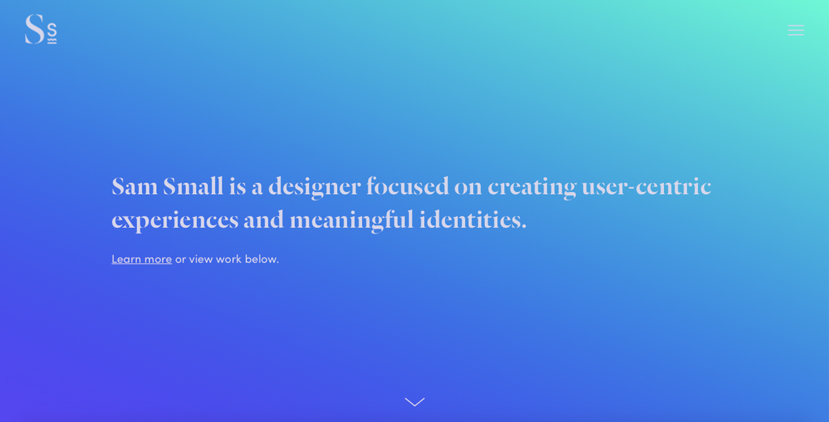 Blue gradient UI design portfolio homepage