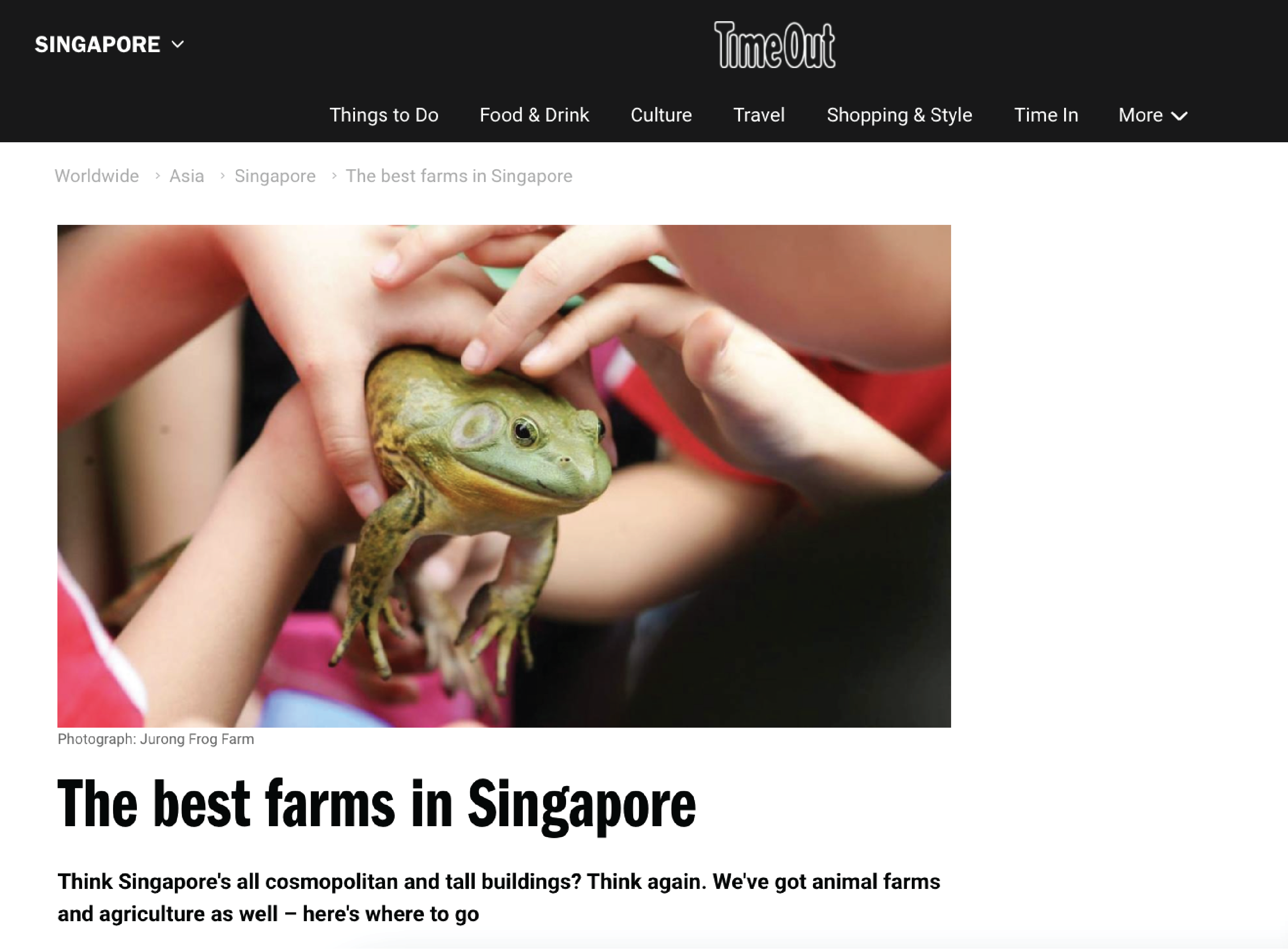 TimeOut article of the best farms in Singapore