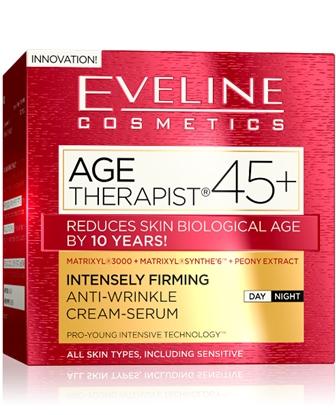 EVELINE AGE THERAPIST® 45+ intenzív feszesítő és ránctalanító nappali/éjszakai krém-szérum 50ml