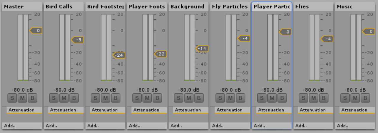 Screenshot of Nick's audio mixing choices