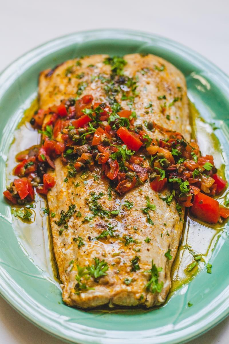 King Fish Roasted In Butter Served With A Delicious Provencale Sauce Olive Mango