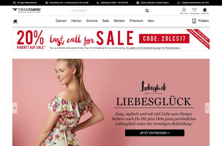 Shopware Shop Referenz: Trendfabrik