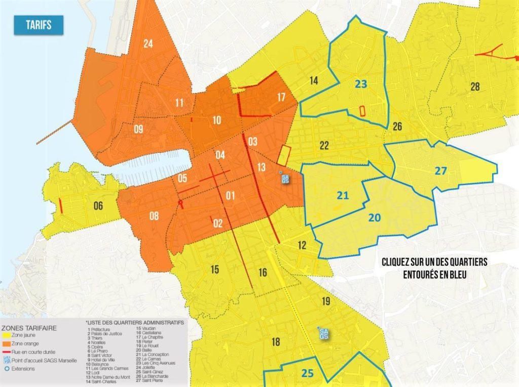 carte des zones tarifaires de marseille