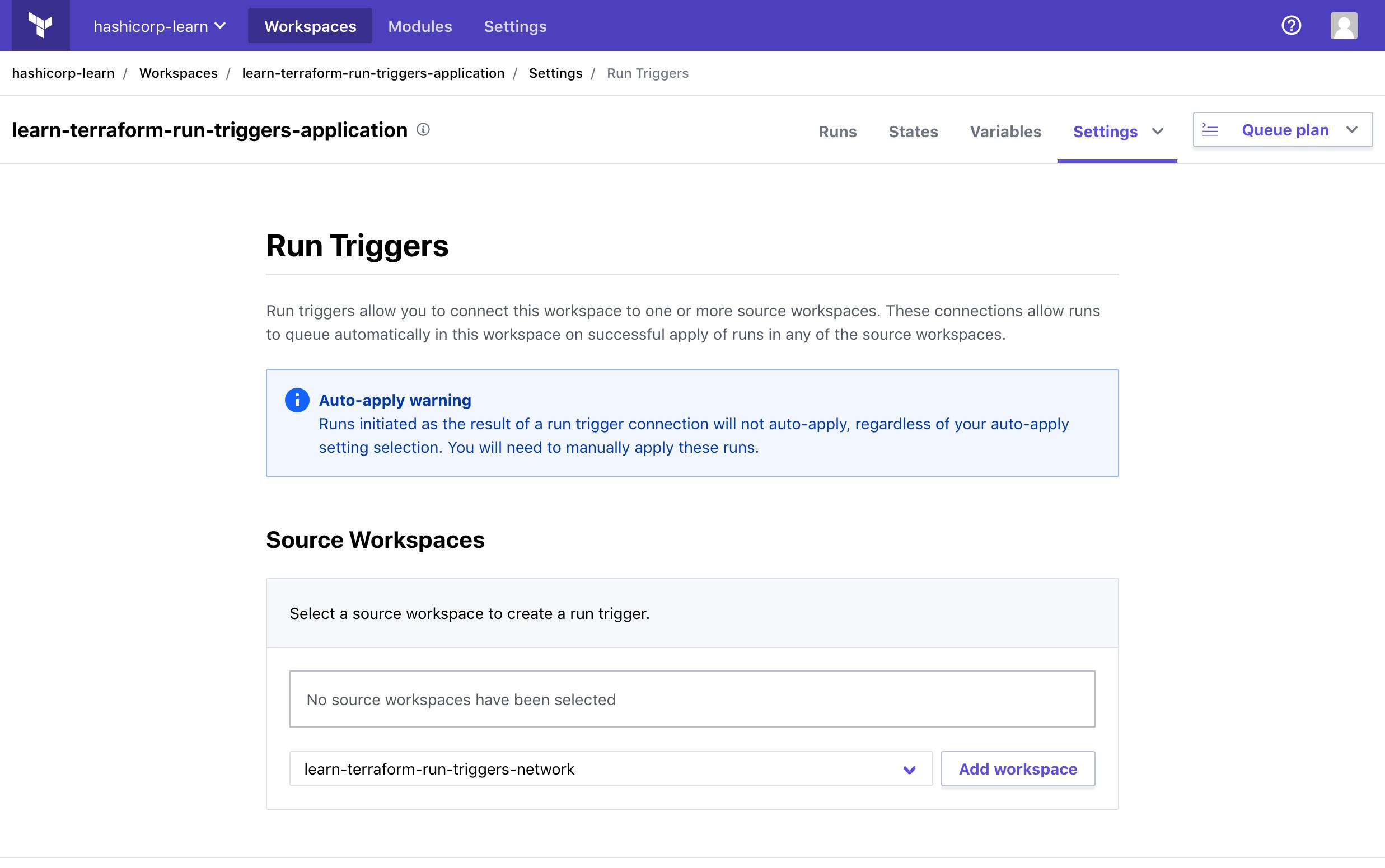 Run triggers interface