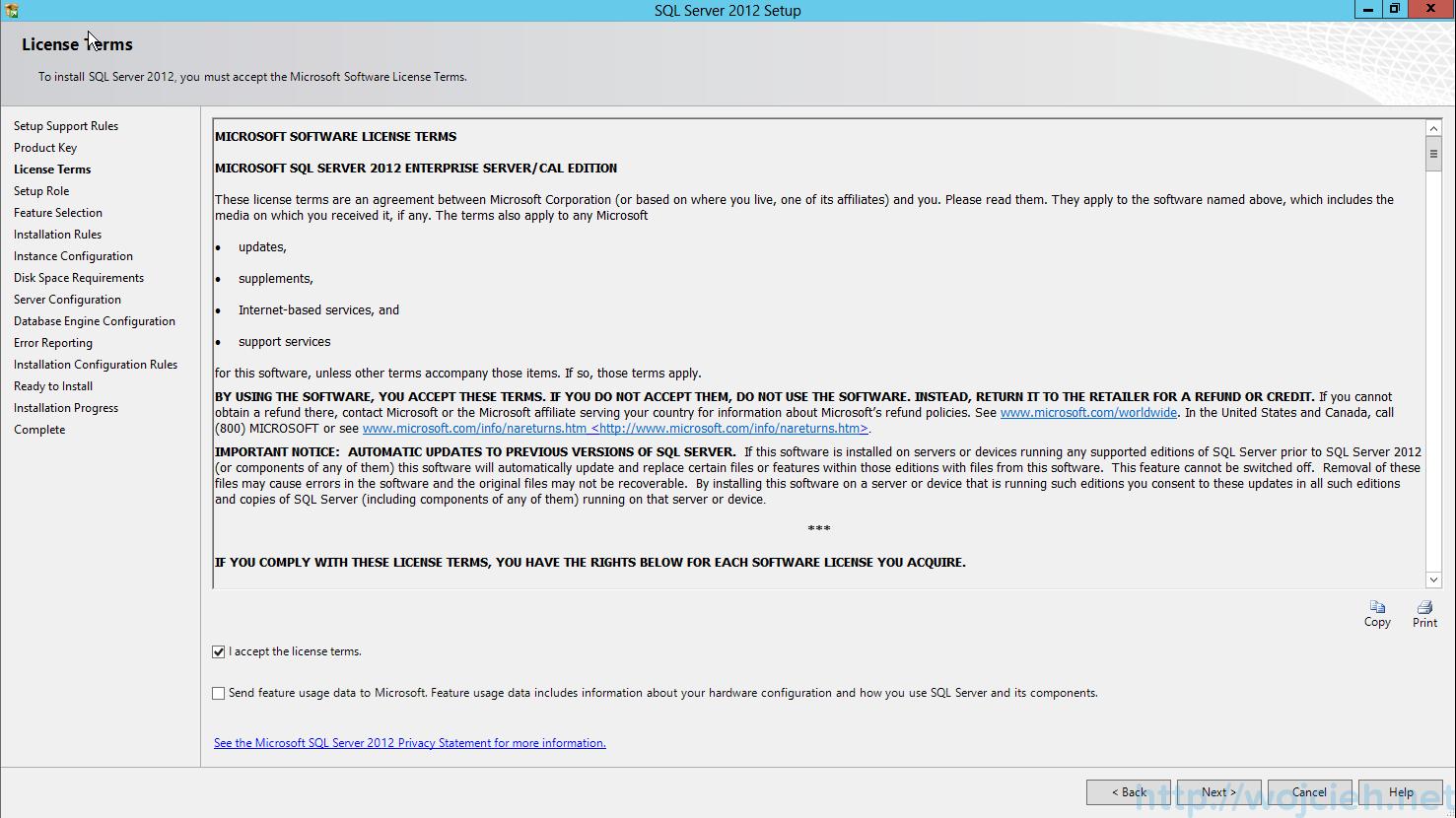 SQL Server 2012 SP1 - License Agreement