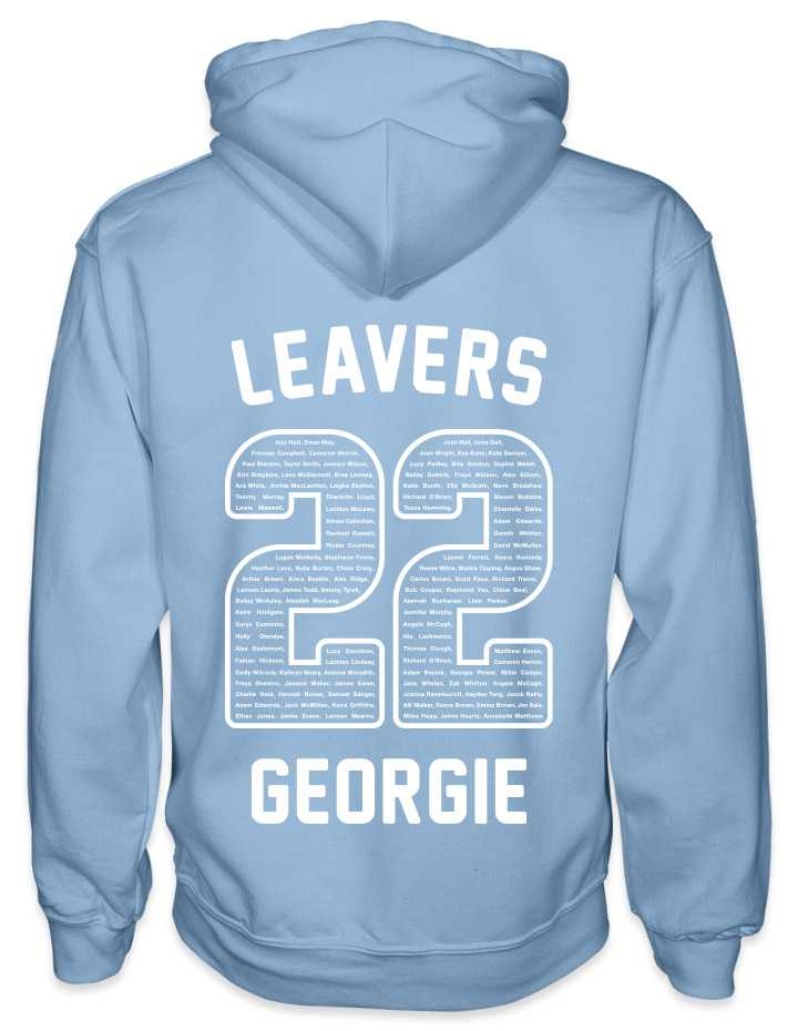 leavers hoodies rounded font design with leavers printed across shoulders, names in a number 22, nickname printed at the bottom
