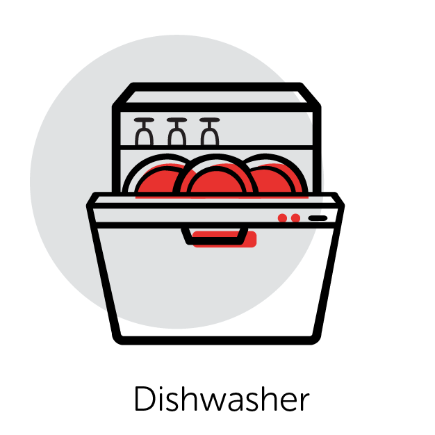 Graphical Icon of a Dishwasher