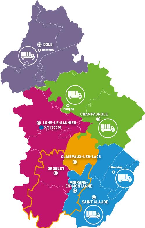 Carte des quais de transfert du Jura