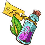 Vial of purple potion saying 'Drink me'
