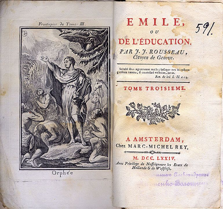 Фронтиспис к первому тому издания педагогического трактата «Эмиль, или О воспитании» (1762)