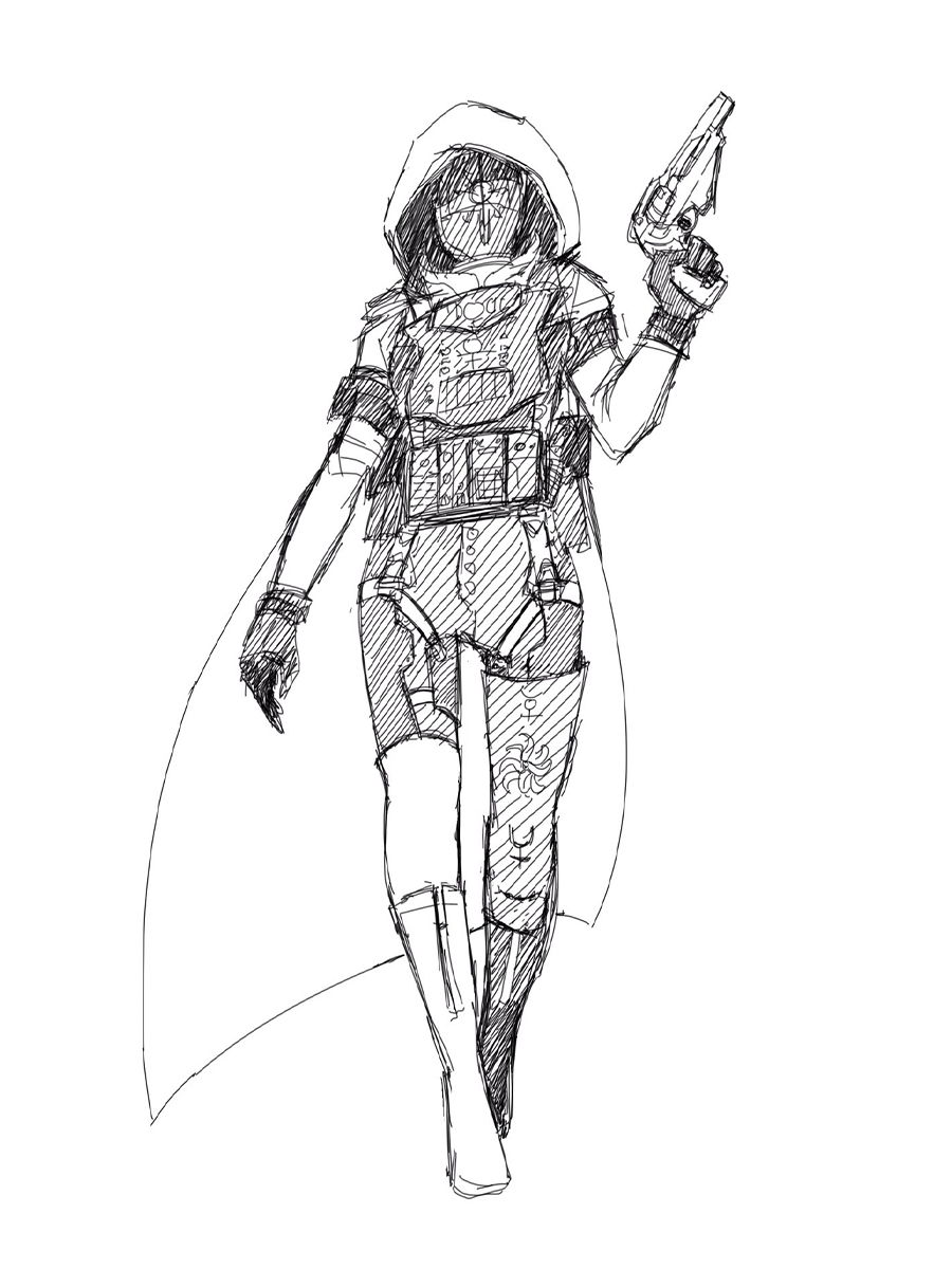 Hunter character walking and holding up a gun.