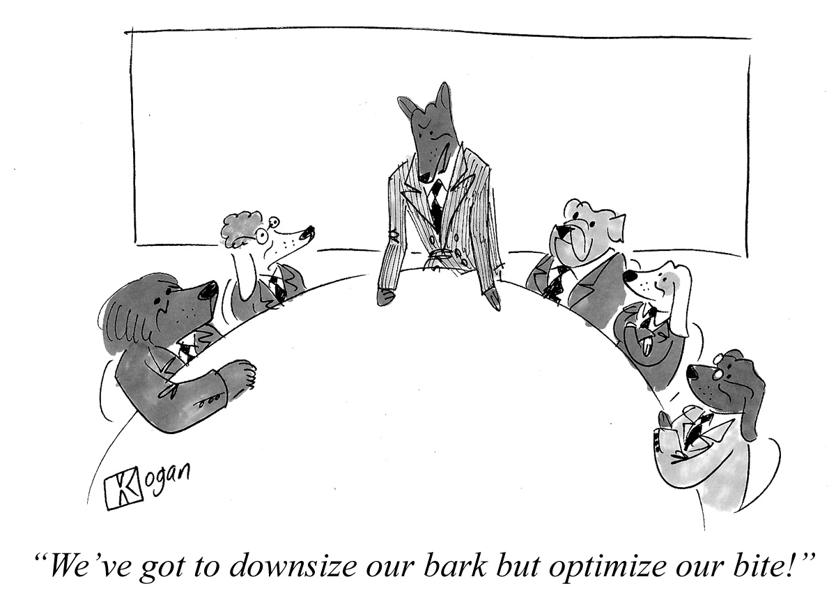 Cartoon about dogs in the board room.
