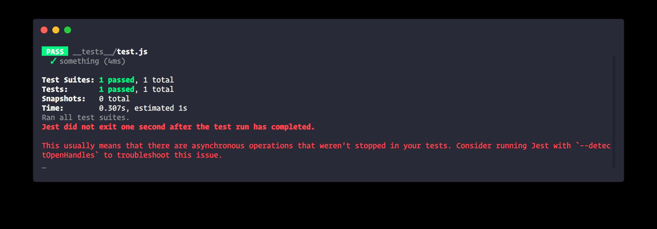 Detecting hanging tests
