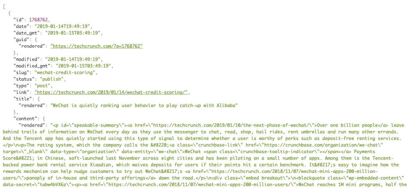 TechCrunch Posts API