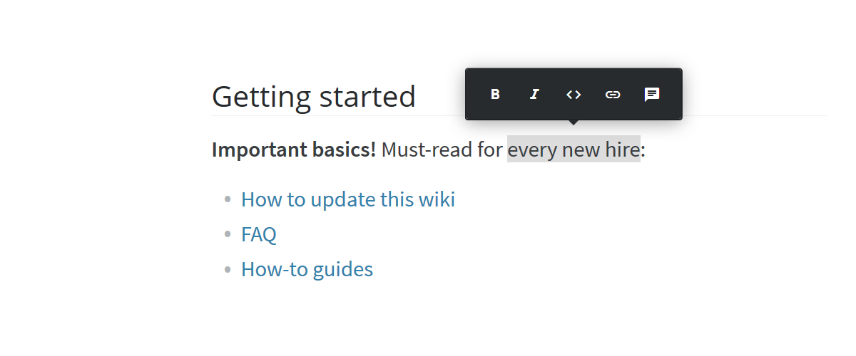 Internal wiki content editor