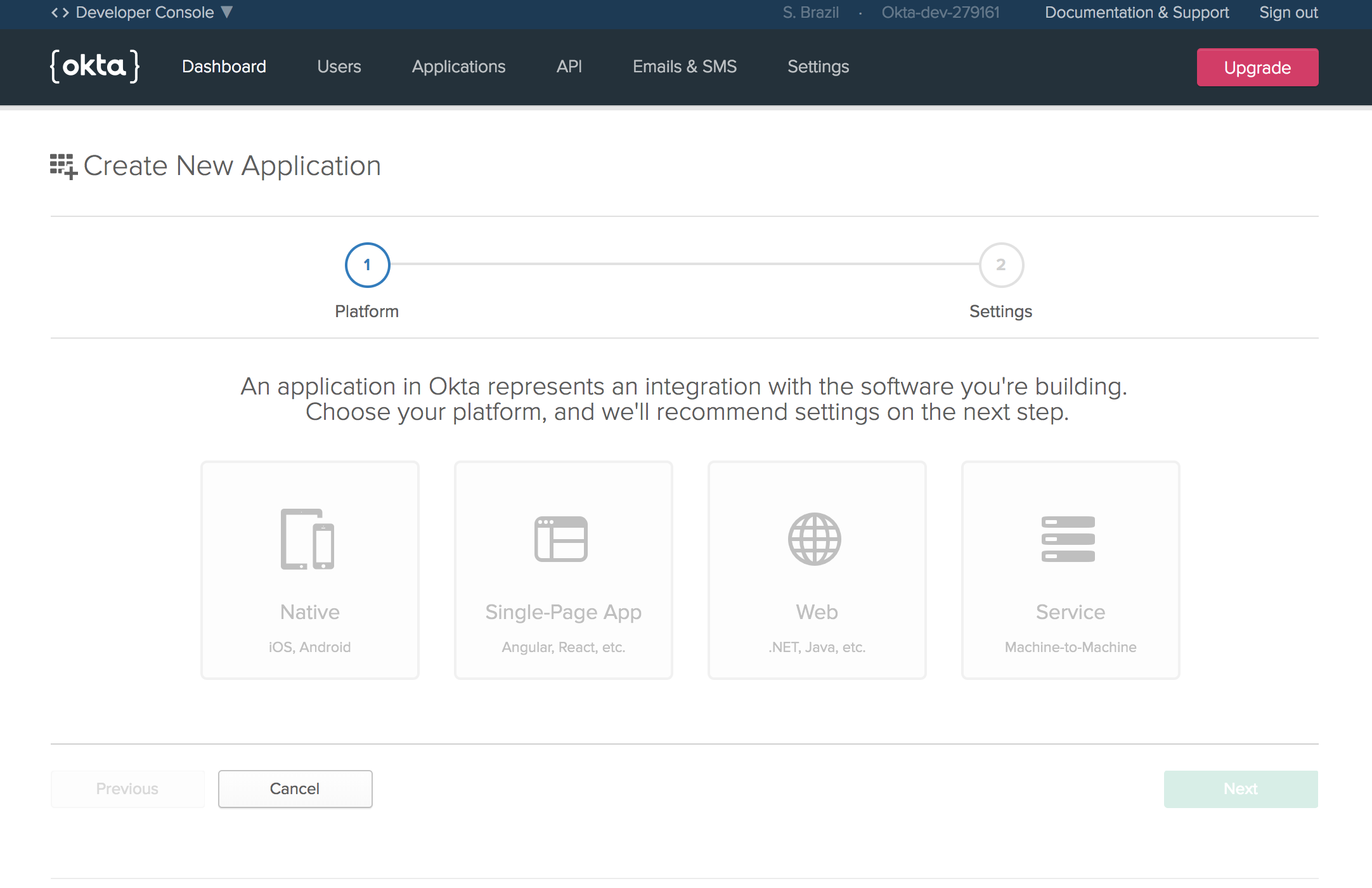 Screen Shot of Okta create application