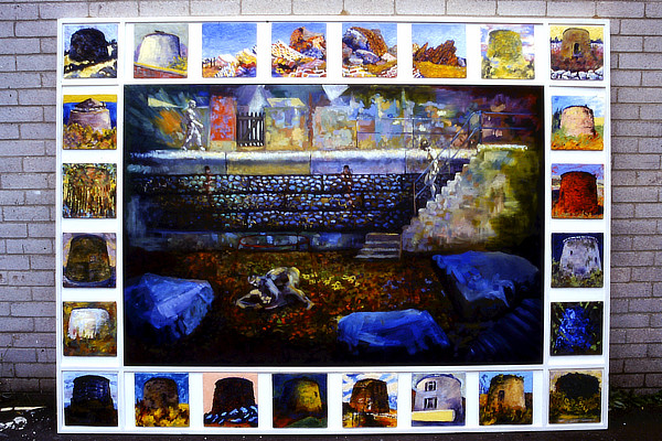 painting of Sandgate sea wall surrounded by smaller studies of Martello towers