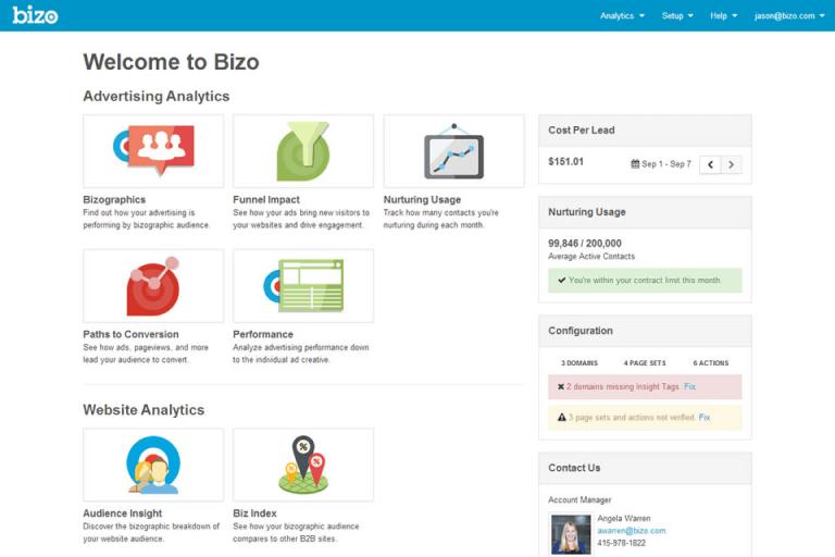 Marketing platform screenshot