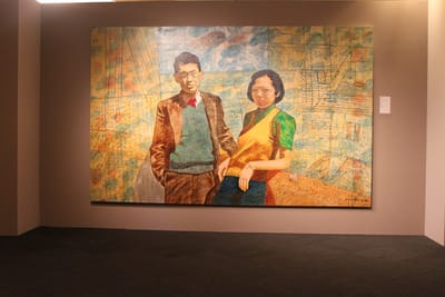 A large landscape painting of Lee Kuan Yew and Kwa Geok Choo.