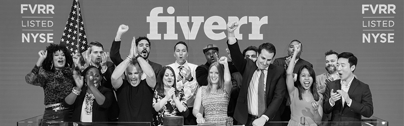 Fiverr ringing bell at New York Stock Exchange