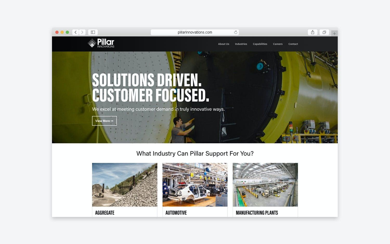 Pillar Innovations - website desktop view