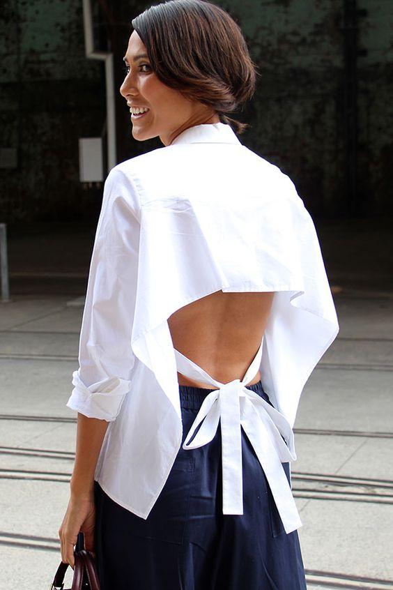 Chemise blanche à dos nu