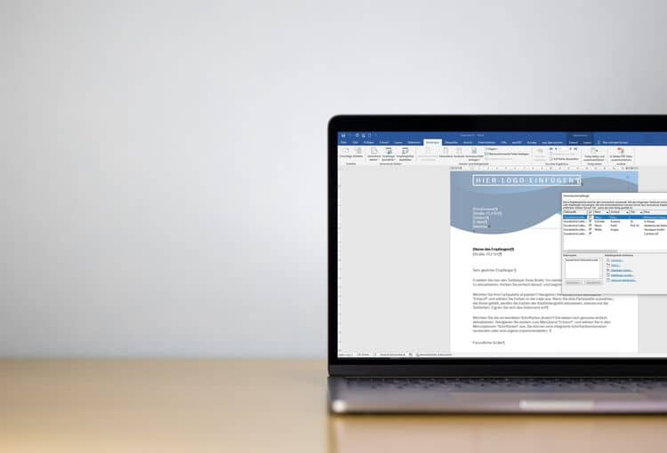 Bildschirm mit Word während Übung