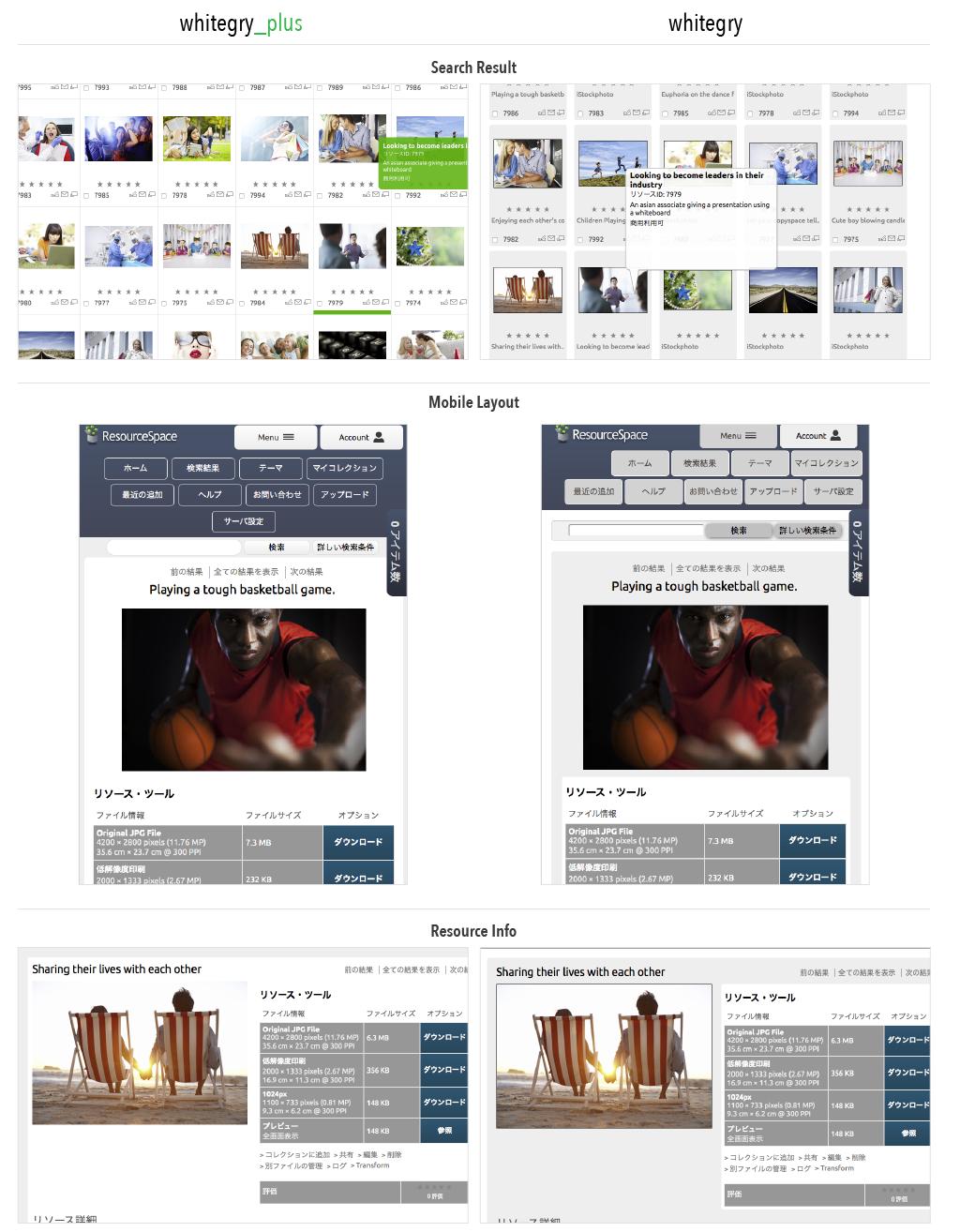 whitegryとwhitegry_plusのデザインを比較した画像が表示されている。
