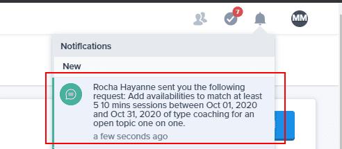 Notification add availability