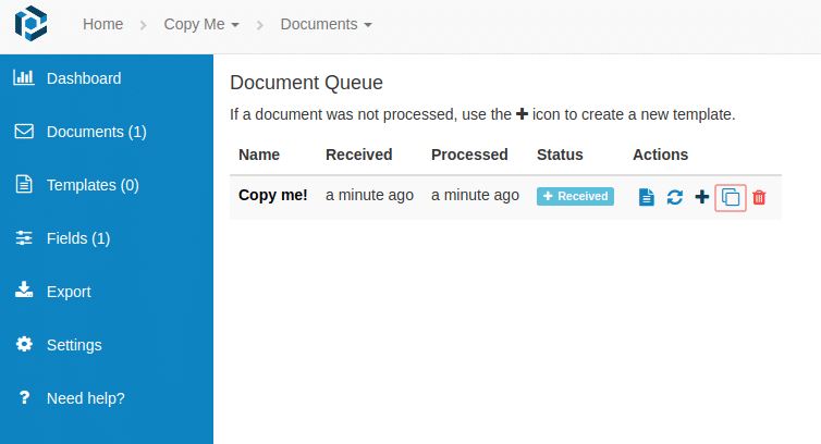 Use the copy action button (highlighted in red) to create a copy of a document or a template